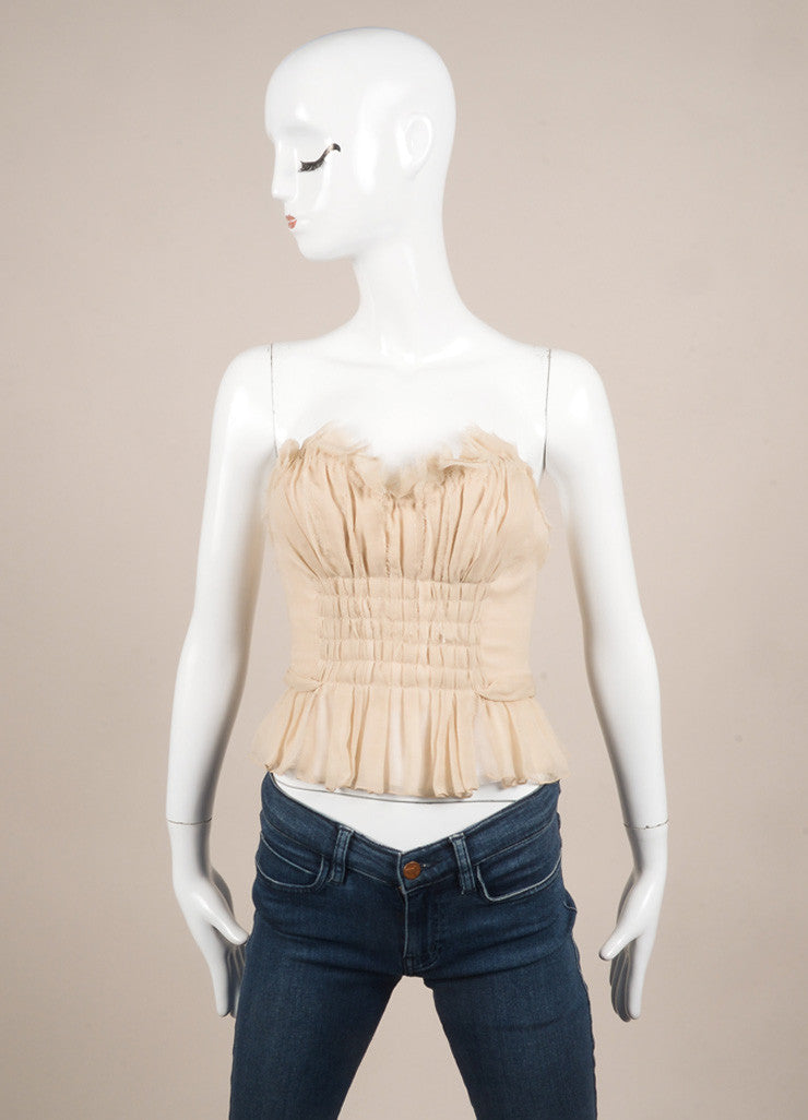 J. Mendel Taupe Chiffon Bustier Top Frontview