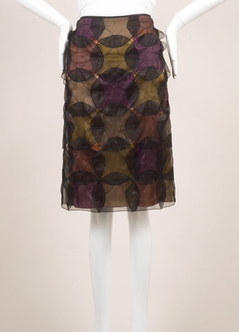 Jil Saner Black and Multicolor Silk Patchwork Circle Overlay Straight Skirt Frontview