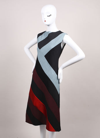 "Jonathan Saunders New With Tags Blue, Grey, and Multicolor Paneled ""Poppy"" Dress Sideview"