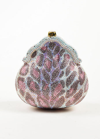 Judith Leiber Pink, Purple, and Clear Crystal Leopard Print Clutch Frame Evening Bag Frontview