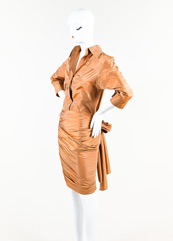 KaufmanFranco Iridescent Copper Silk Taffeta Drape Panel Button Up Bodysuit Sideview