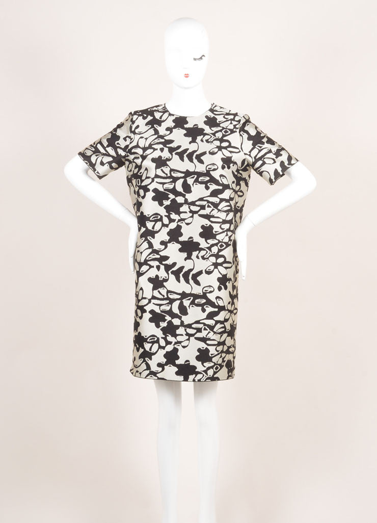 Lanvin New With Tags Grey and Black Woven Knit Floral Oversized Short Sleeve Dress Frontview