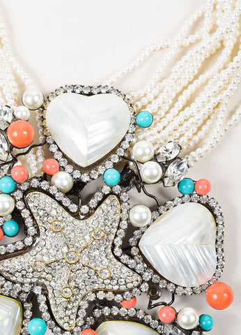 Lawrence Vrba Cream, Coral, and Teal Faux Pearl and Rhinestone Star Pendant Necklace Detail