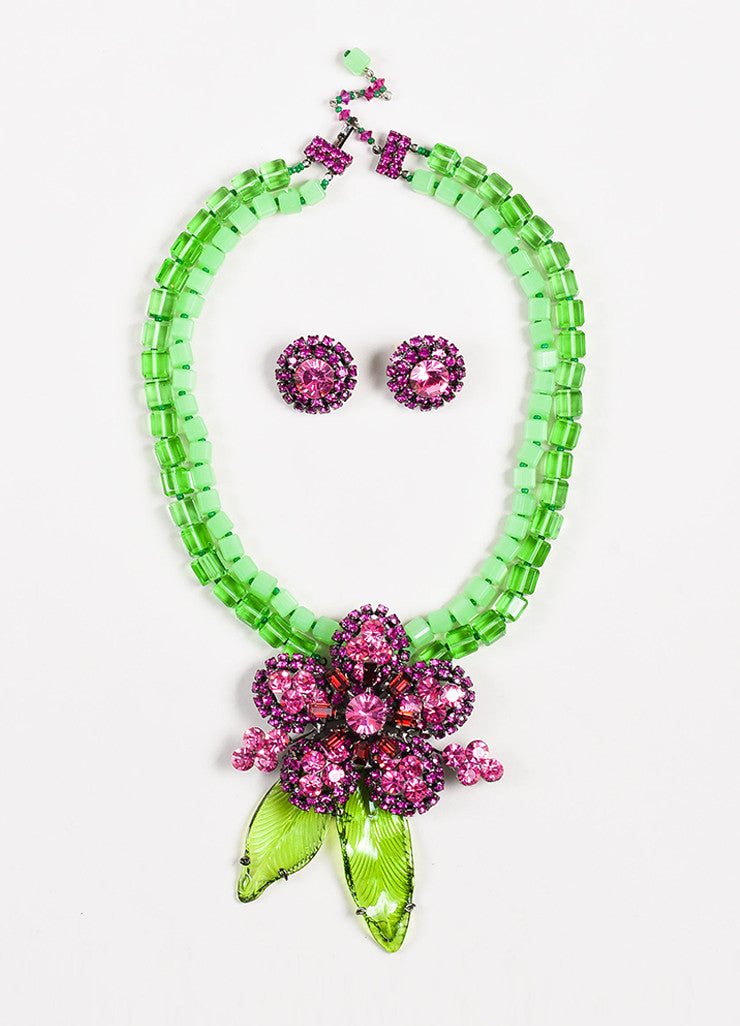 Lawrence VRBA Green and Pink Beaded Crystal Flower Pendant Necklace Earrings Set Frontview