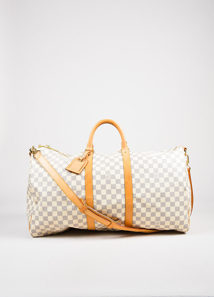 "Louis Vuitton Cream Navy Damier Canvas ""Keepall Bandouliere 55"" Bag Front"