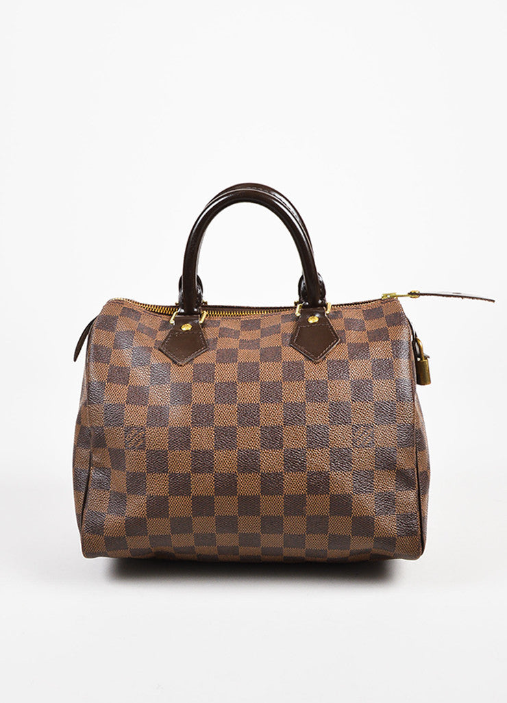 "Louis Vuitton Damier Ebene Brown Coated Canvas Leather Checkered ""Speedy 25"" Bag Frontview"