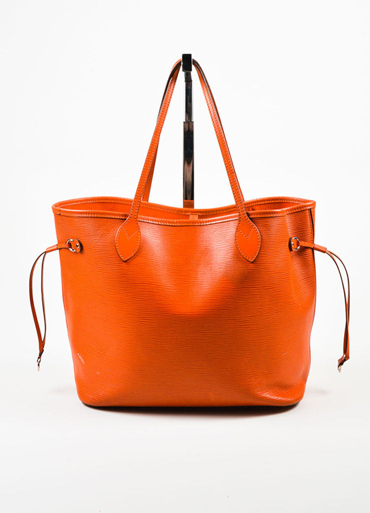 "Louis Vuitton Orange Epi Leather ""Neverfull MM"" Tote Bag Frontview"