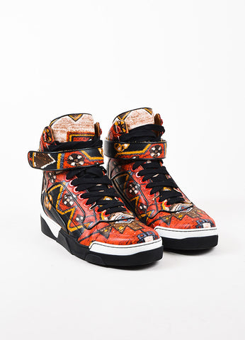 "Men's Givenchy Red and Black Leather Graphic Print High Top ""Tyson"" Sneakers Frontview"