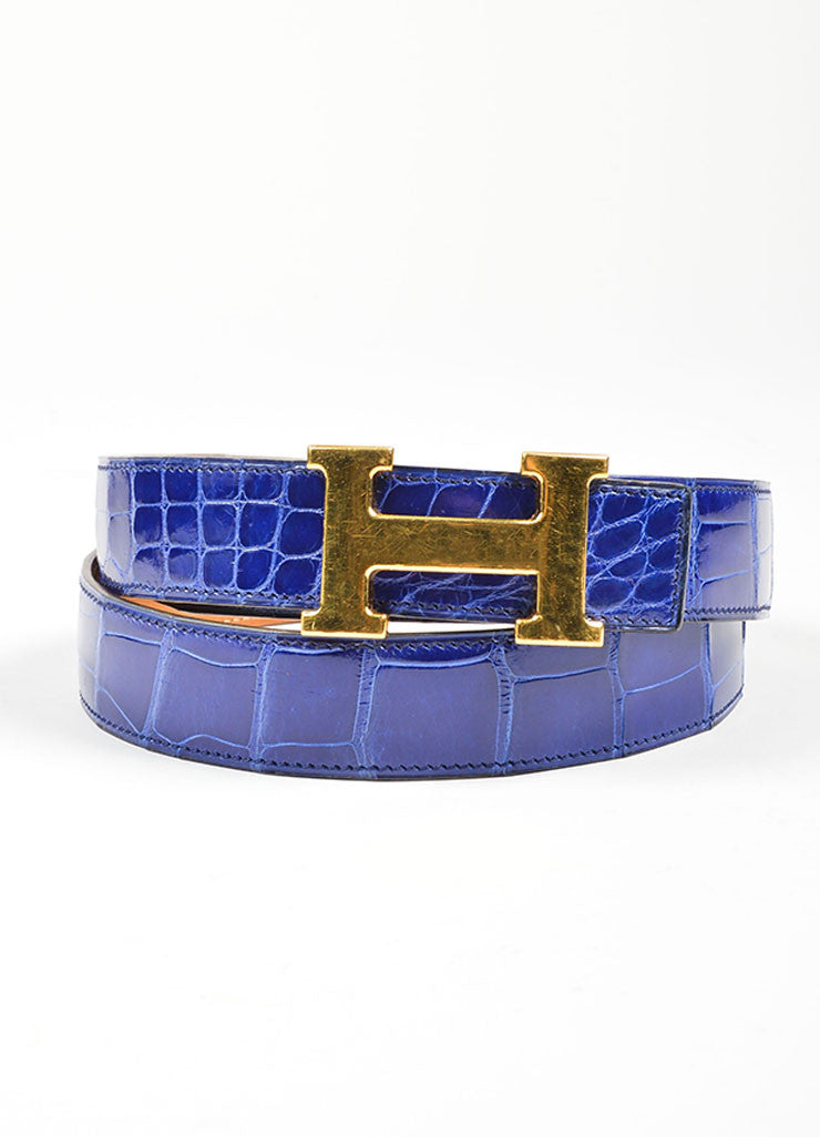 "Men's Gold Toned 'H' Prong Buckle and Blue Alligator Hermes ""Constance"" Belt Frontview"