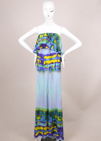 MSGM New With Tags Purple and Yellow Silk Graphic Print Ruffle Strapless Dress Frontview