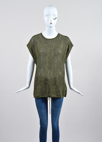 Olive Green and Metallic Gold Lurex M Missoni Zig Zag Drawstring Top Frontview