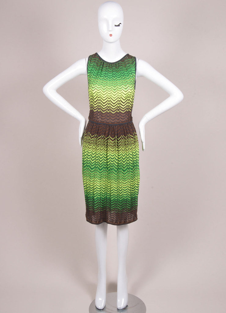 M Missoni New With Tags Green, Yellow, and Brown Knit Woven Chevron Print Mesh Dress Frontview