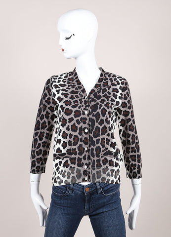 Marc Jacobs Brown, Grey, and Cream Leopard Print Button Knit Cardigan Frontview