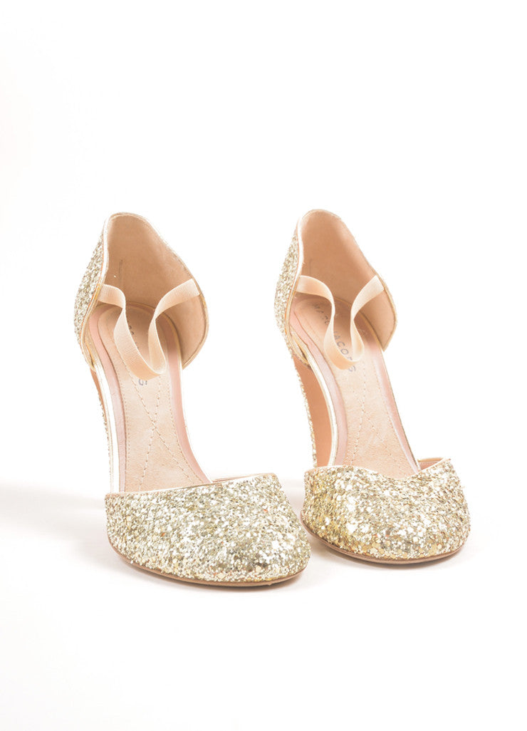 Marc Jacobs Metallic Gold Glitter Mary Jane Pumps Frontview