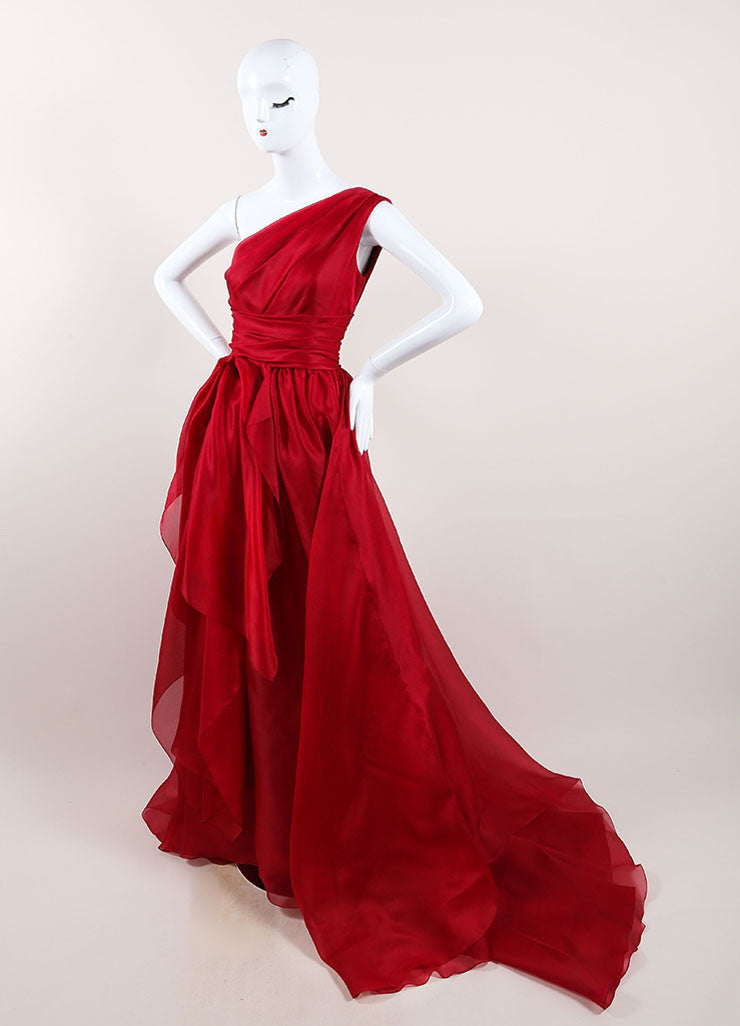 Marchesa Red Silk One Shoulder Draped Full Gown Sideview