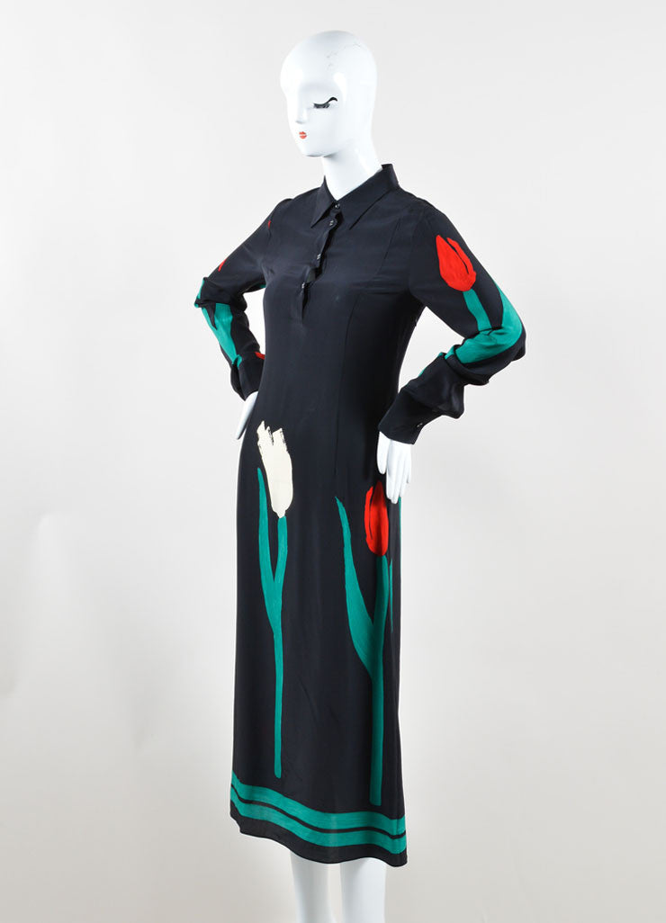 Marni Red, Black, and Green Silk Tulip Print Midi Shirt Dress Sideview