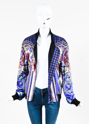 "Mary Katrantzou Purple Multi Mixed Print ""Skye"" Bomber Jacket Frontview"