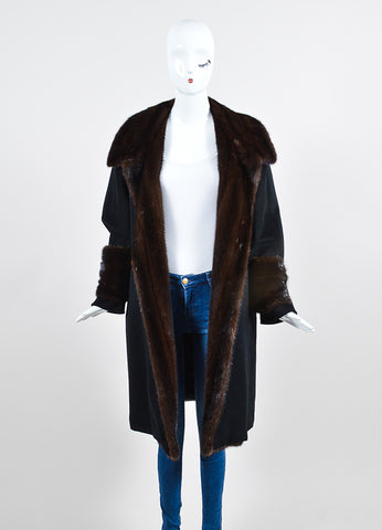 Black and Brown Max Mara Wool and Cashmere Mink Trim Long Coat Frontview