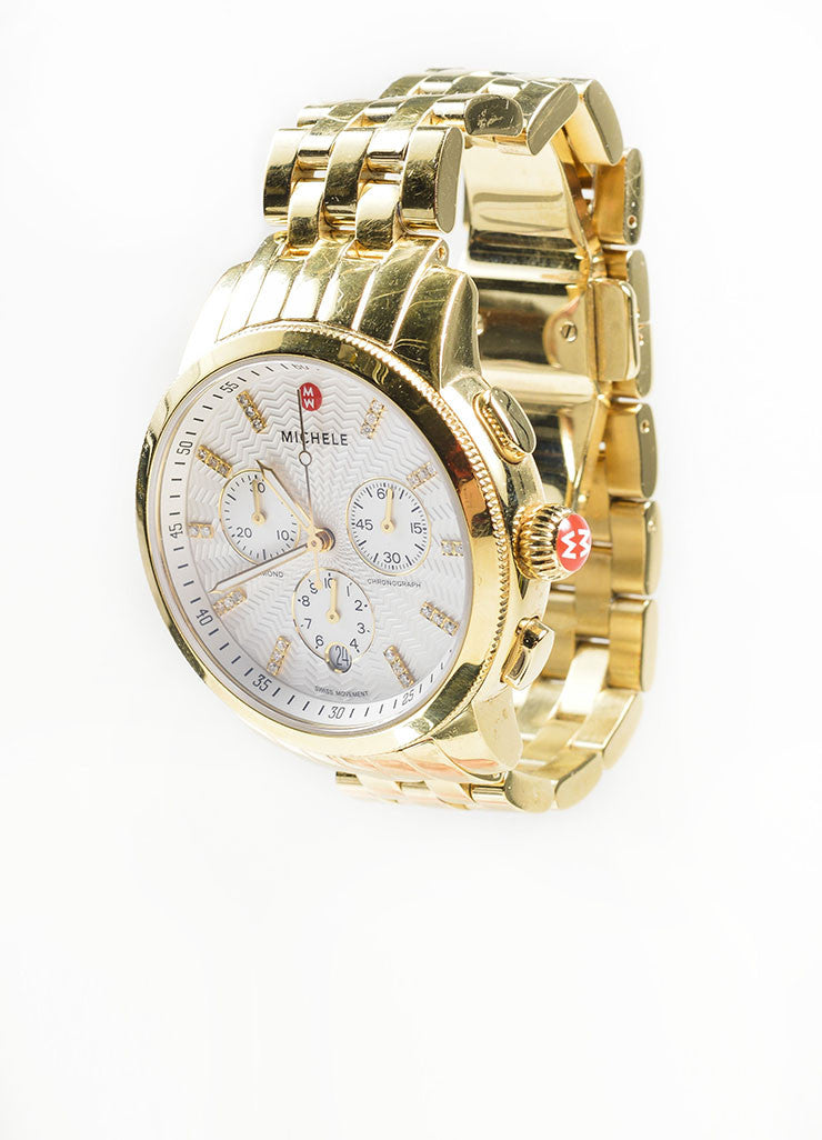 "18K Gold Plated Stainless Steel and Diamond Michele ""Sport Sail"" Chronograph Watch Sideview"