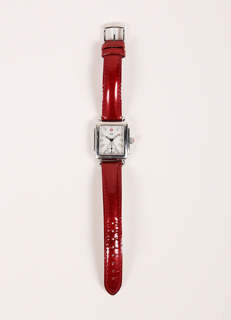 Michele Deco Silver Tone Red Cream Stainless Steel Diamond Interchangeable Watch Frontview