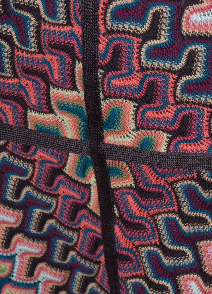 Missoni Grey, Pink, and Blue Knit Woven Print Skirt Detail