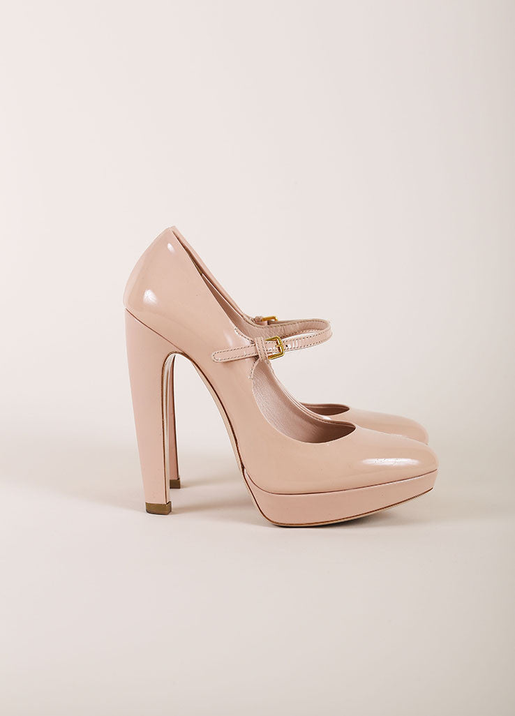Miu Miu Nude Patent Leather Platform Mary Jane Heels Sideview