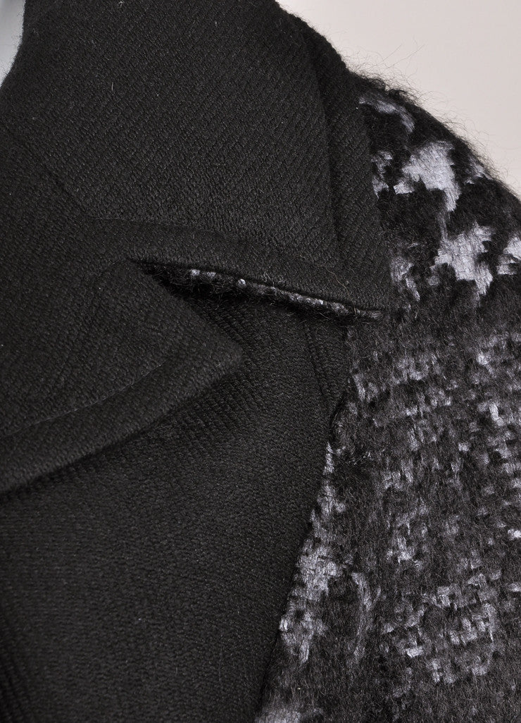 Moncler New With Tags Black and Grey Wool and Mohair Houndstooth Puffer Pea Coat Detail