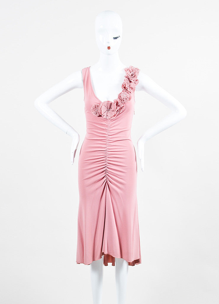 Moschino Cheap and Chic Pink Crepe Rosette Rhinestone Sleeveless Dress Frontview