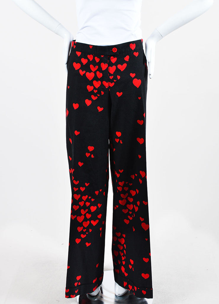Black and Red Moschino Cheap and Chic Heart Print Cotton Wide Leg Pants Frontview
