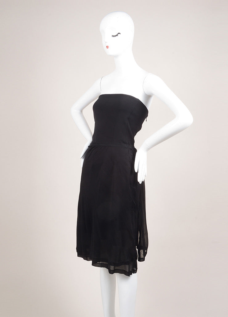 Narciso Rodriguez New With Tags Black Silk Strapless Draped Dress Sideview