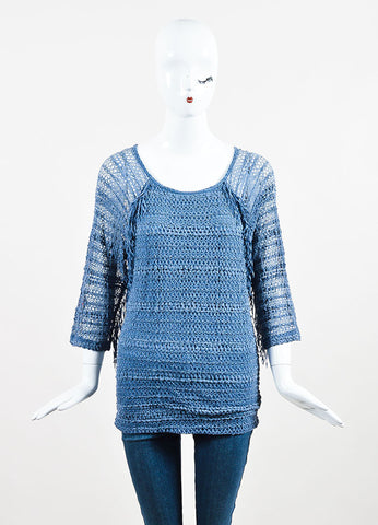 Nightcap Denim Blue Crochet Overlay Fringe Lace Long Sleeve Tunic Frontview