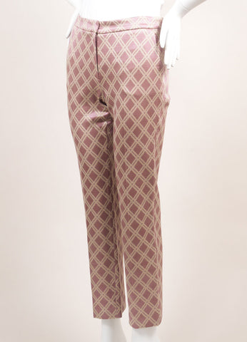 Odeeh New With Tags Purple and Metallic Gold Cotton Blend Diamond Tapered Trousers Sideview