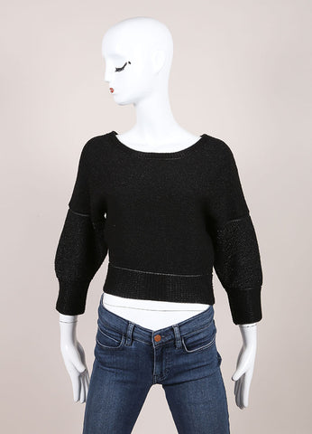 Ohne Titel New With Tags Black Metallic Knit Cropped Sweater Frontview
