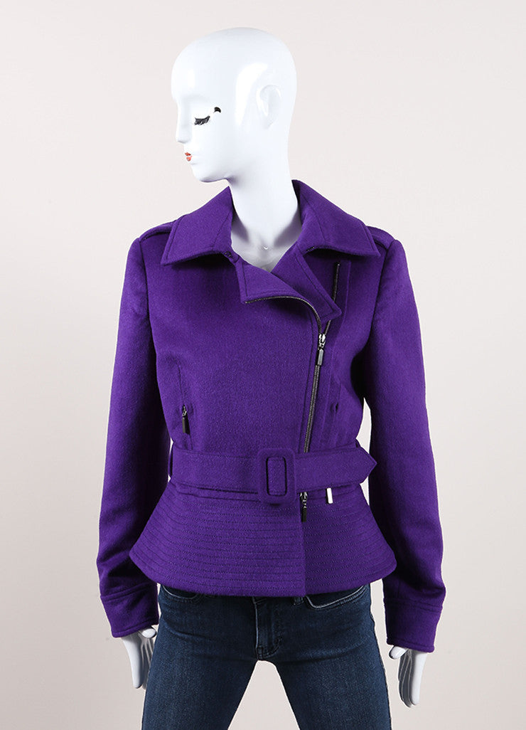 Oscar de la Renta New With Tags Purple Wool Blend Peplum Belted Moto Jacket Frontview