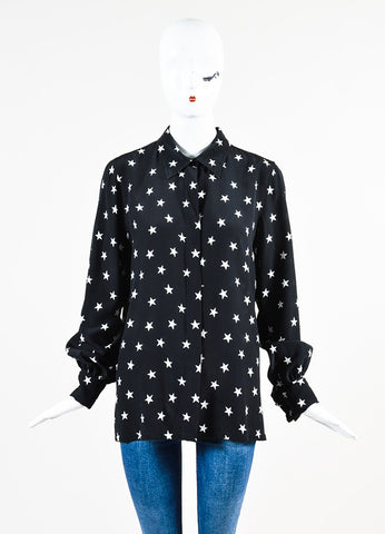 Black and White Pascal Millet Silk Star Print Button Down Blouse