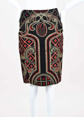 Prabal Gurung Black, Red, and Metallic Gold Wool Blend Brocade Pencil Skirt Frontview