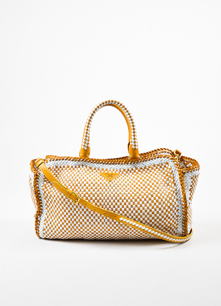 "Prada Yellow and White Leather Woven Crossbody ""Made In"" Madras Tote Bag Frontview"