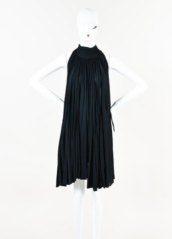Prada Black Jersey Pleated Tie Neck Pleated Sleeveless Tent Cape Dress Front