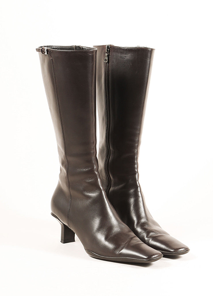 Prada Brown Leather Mid Calf Zipper Low Heel Boots Frontview