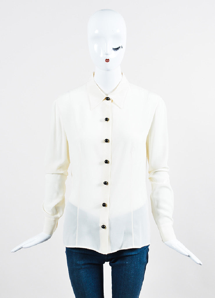 Cream Prada Silk Long Sleeve Button Down Blouse Frontview