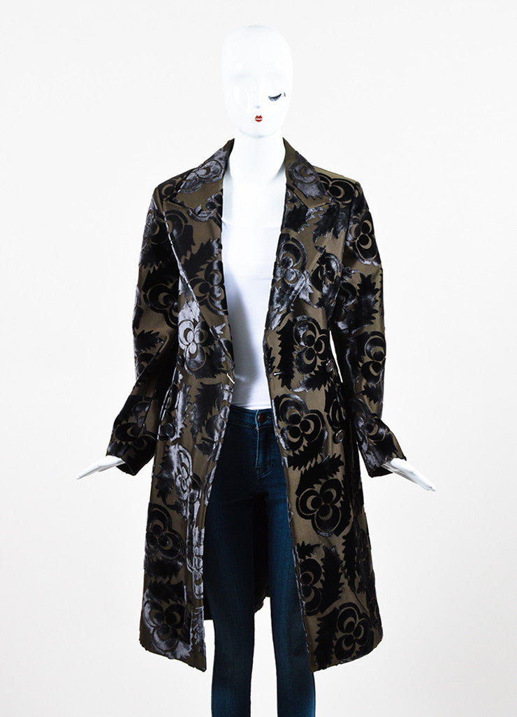 Prada Dark Olive Green and Grey Silk Velvet Floral Trench Coat Frontview