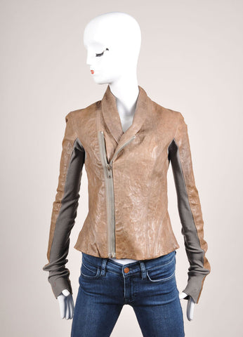 Rick Owens Brown and Grey Crinkle Leather Rib Knit Trim Fitted Jacket Frontview