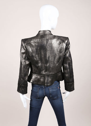 Robert Rodriguez Silver Leather Metallic Convertible Long Sleeve Jacket Backview