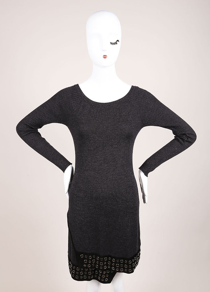 Roberto Cavalli Grey Wool Suede Leather Trim Grommet Sweater Dress Frontview