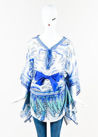 Roberto Cavalli Blue and White Silk Knit Printed Belted Caftan Top Frontview