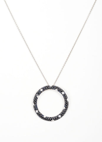 18K White Gold, Black Sapphire, and Diamond Roberto Coin Circle Ring Pendant Necklace Detail