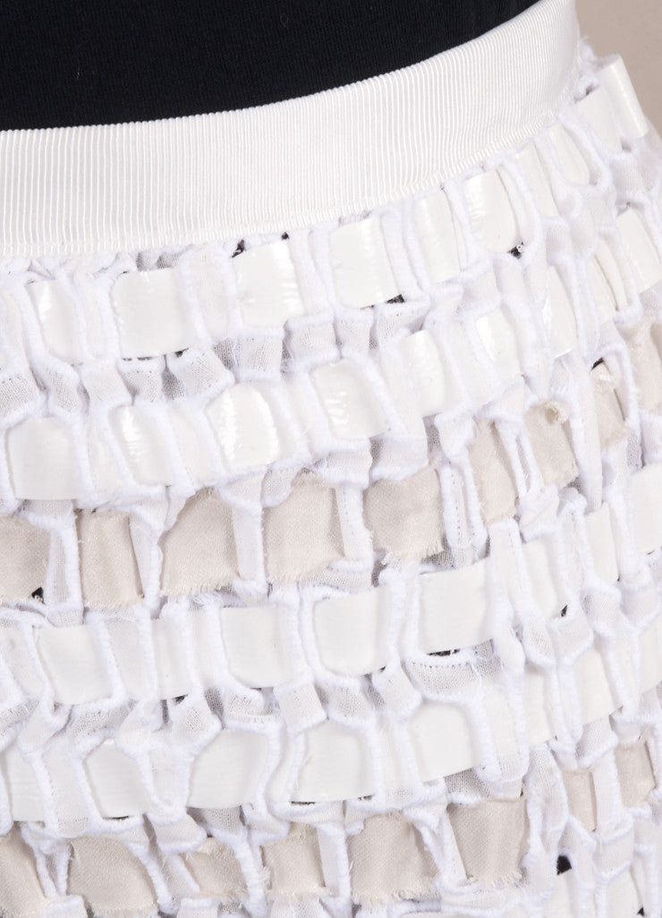Sacai New With Tags White Cotton Ribbon Woven Pleated Hem Skirt Detail