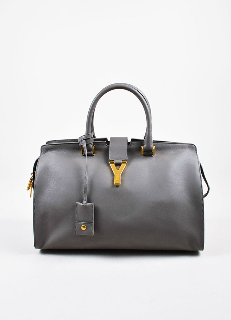 "Saint Laurent Grey Leather Gold Toned Hardware ""Medium Cabas Chyc"" Bag Frontview"