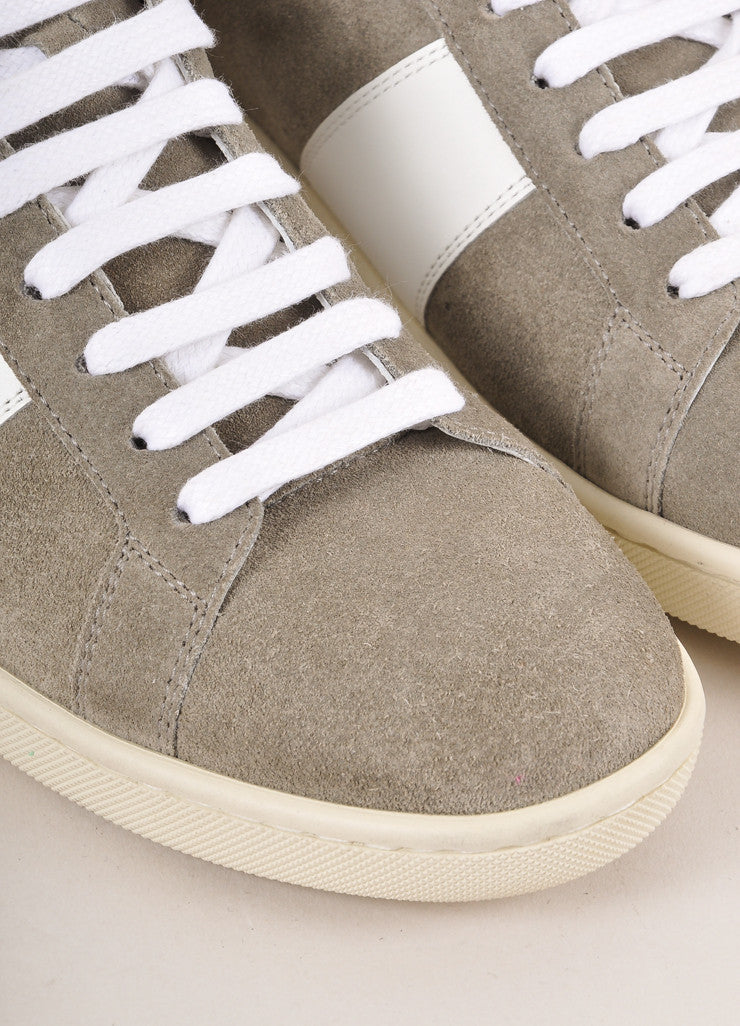 Saint Lauren Grey and White Leather Trim Suede High Top Lace Up Sneakers Outsoles