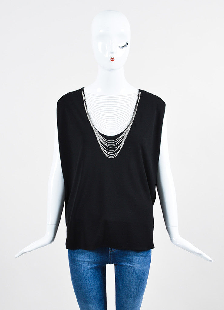 Black Saint Laurent Jersey Chain Detail Sleeveless Boxy Top Frontview